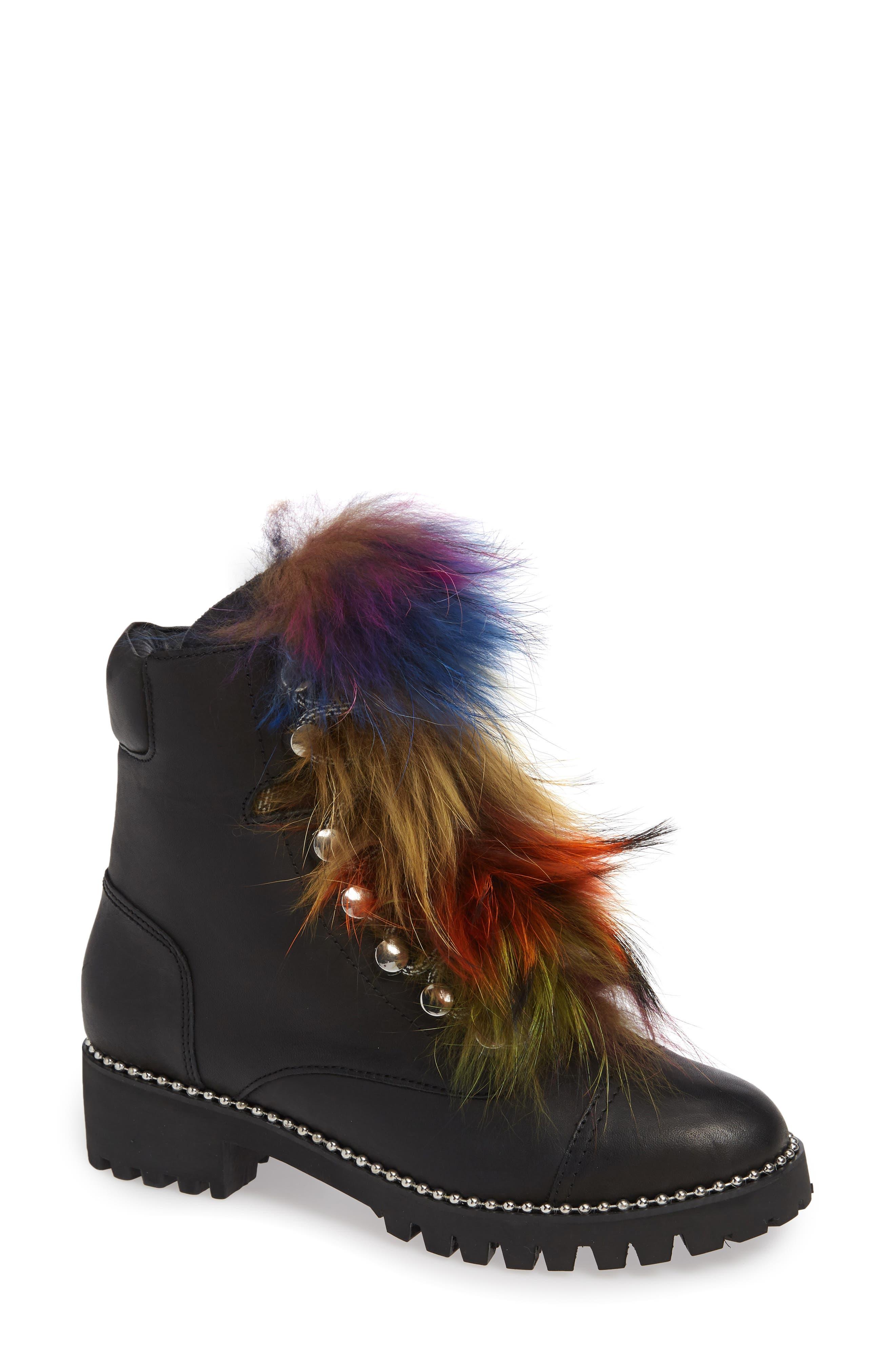 Trekker Boot With Genuine Fox Fur Trim
