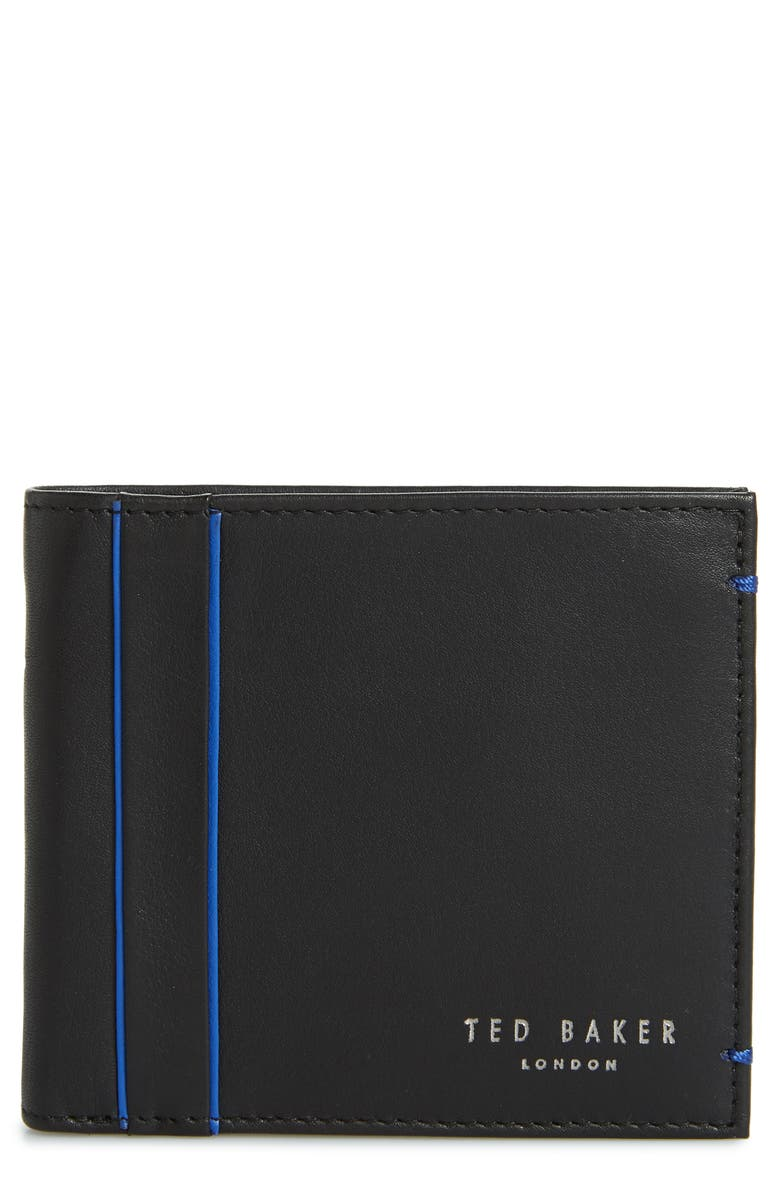 TED BAKER LONDON Passing Leather Wallet, Main, color, BLACK