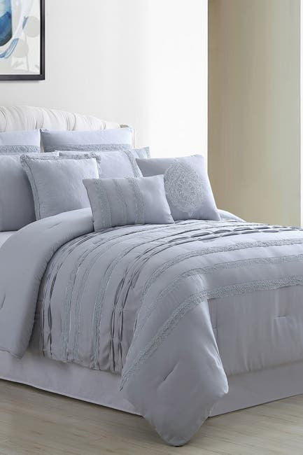 Image of Modern Threads Macarena 8-Piece Queen Embellished Comforter Set - Gray