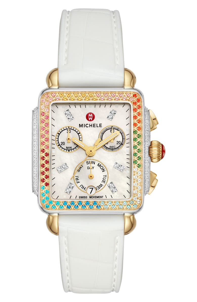 MICHELE Deco Diamond Diamond Dial Watch Head & Bracelet, 33mm x 35mm, Main, color, WHITE/ MOP
