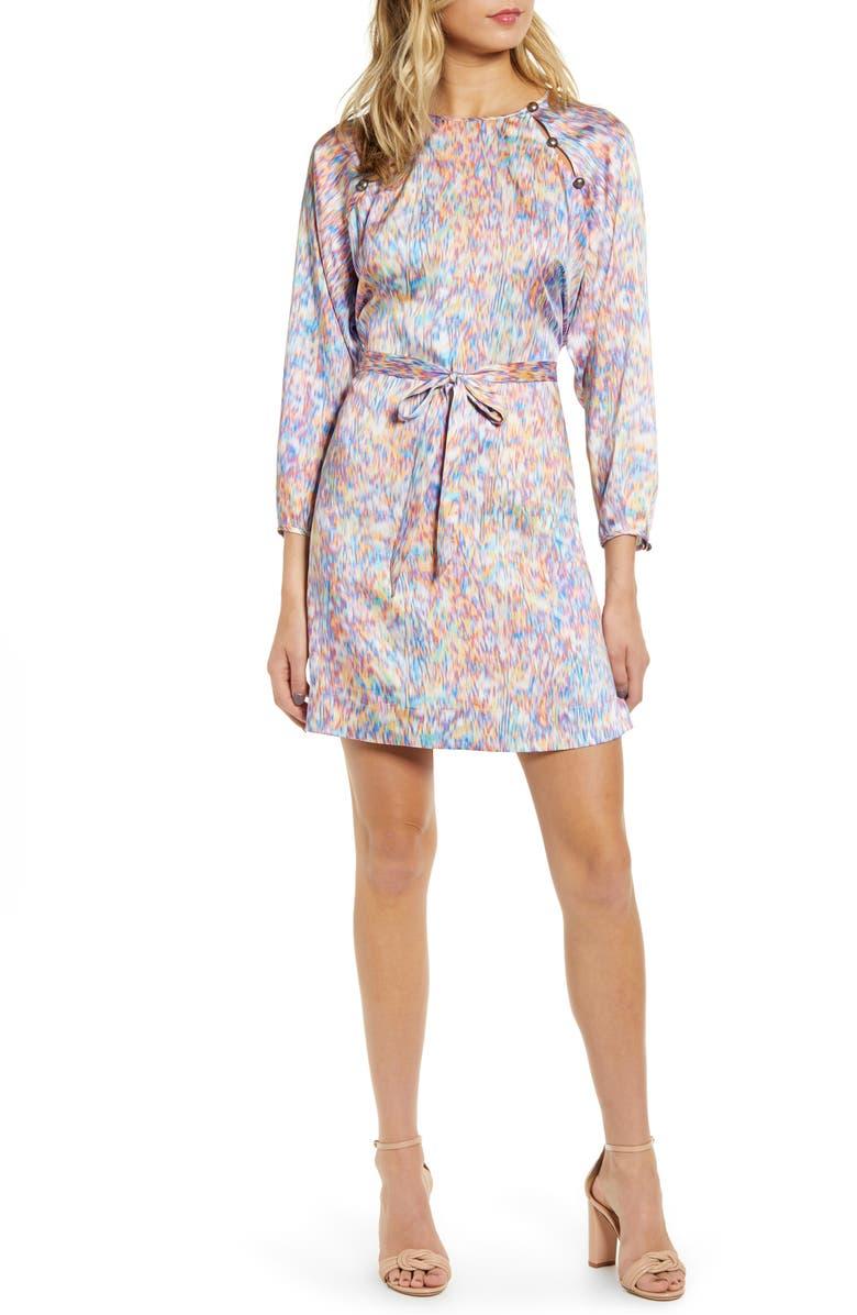 REBECCA MINKOFF Lima Tie Waist Dress, Main, color, MULTI