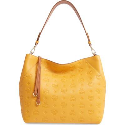 Mcm Medium Klara Monogram Leather Hobo - Yellow