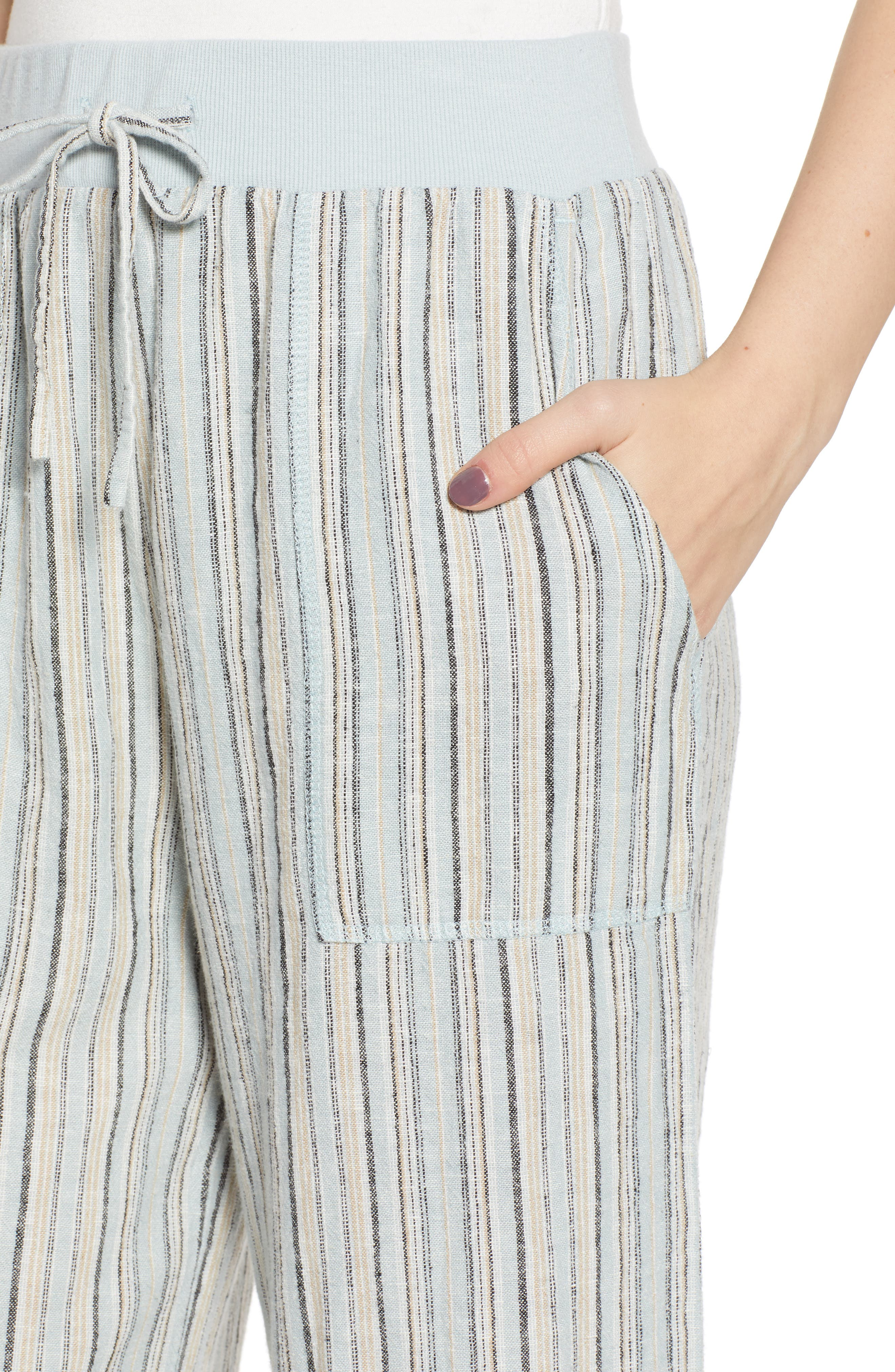 ,                             Stripe Crop Linen Blend Pants,                             Alternate thumbnail 7, color,                             450