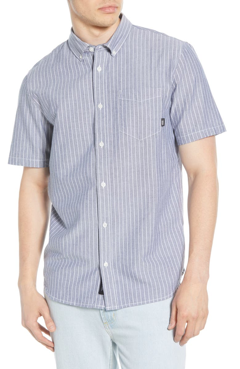 VANS Houser Classic Fit Woven Shirt, Main, color, DRESS BLUES MICRO STRIPE