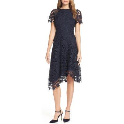 Eliza J Asymmetrical Lace Dress, Blue