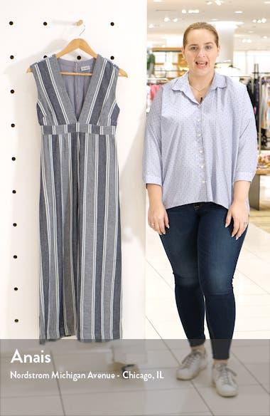 Paloma Stripe Plunge Neck Jumpsuit, sales video thumbnail
