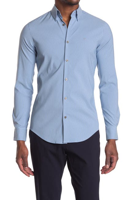 Image of Calvin Klein Long Sleeve Move Stripe Dress Shirt
