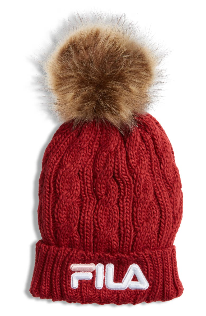 THE HERITAGE COLLECTION FILA Faux Fur Pom Cable Knit Beanie, Main, color, BIKING RED