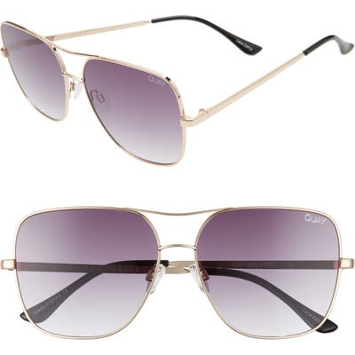 Quay Australia Stop & Stare 5m Square Sunglasses - Gold/ Smoke