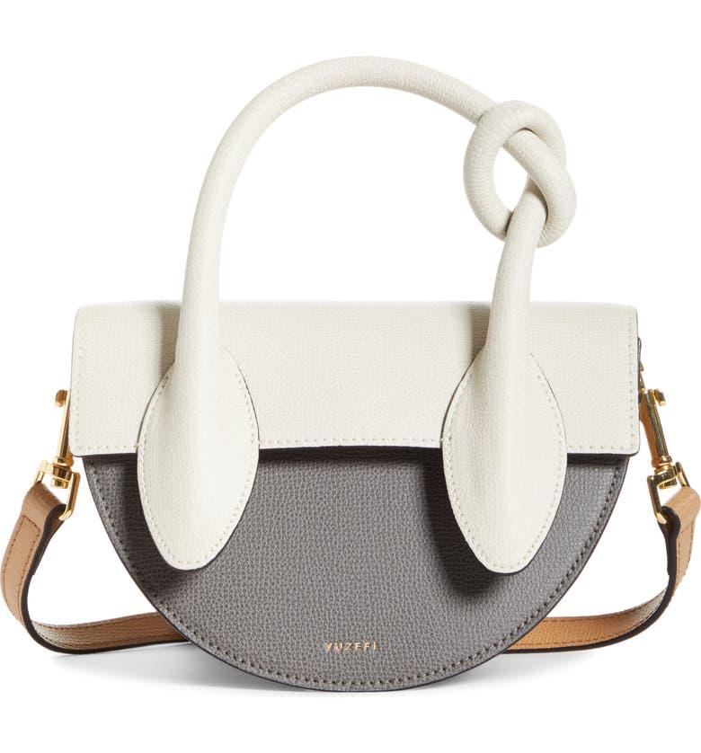 YUZEFI Dolores Colorblock Leather Crossbody Bag, Main, color, ASH/ CREAM