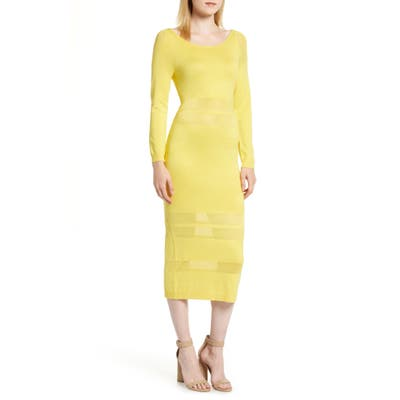Sentimental Ny Illusion Stripe Midi Dress, Yellow