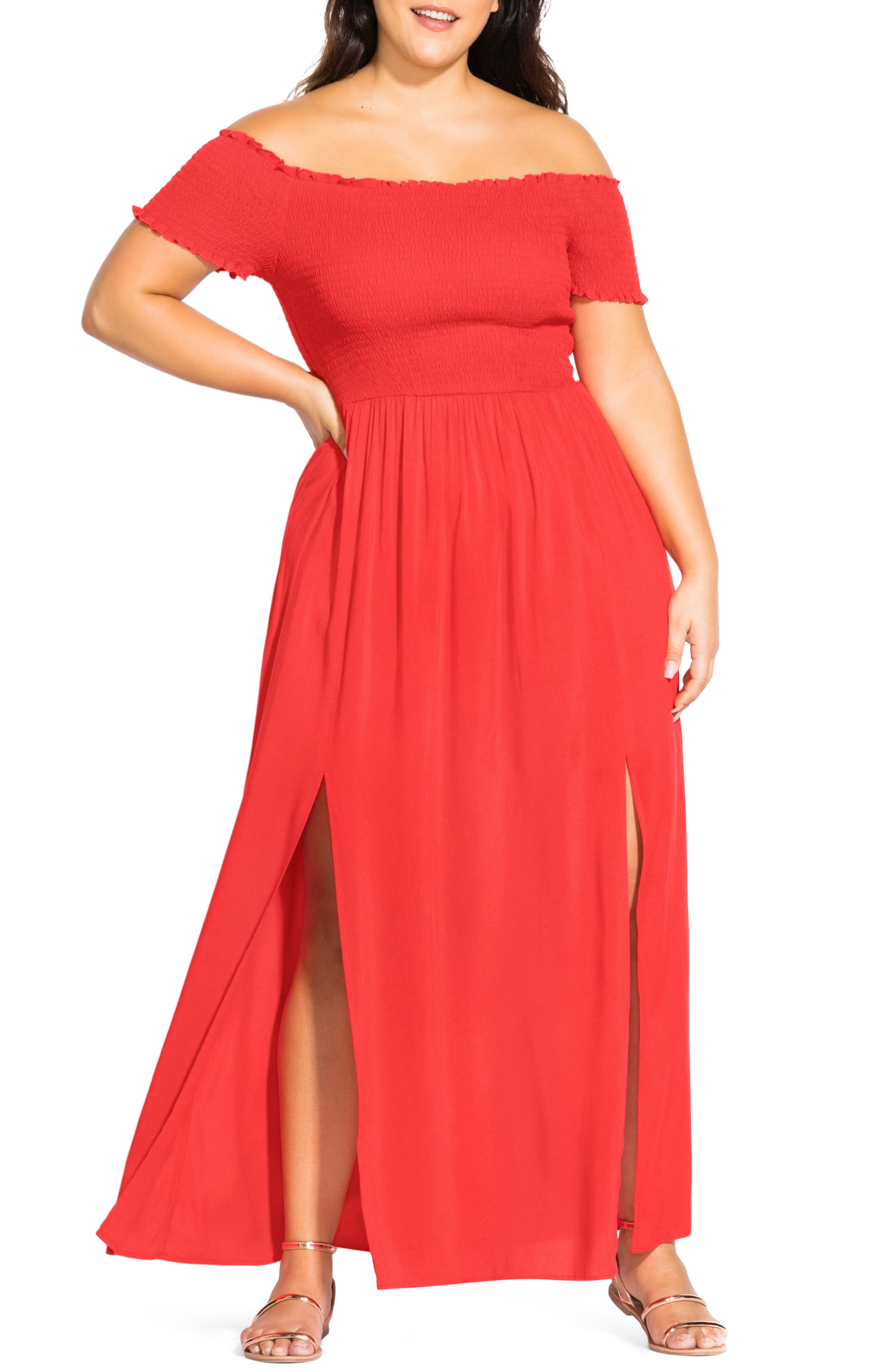 Plus Size City Chic Summer Passion Off The Shoulder Maxi Sundress, Red