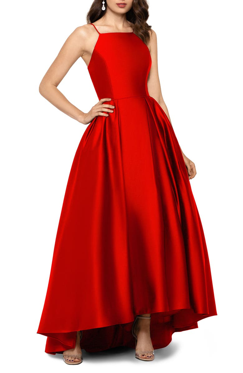 BETSY & ADAM High/Low Satin Ballgown, Main, color, RED