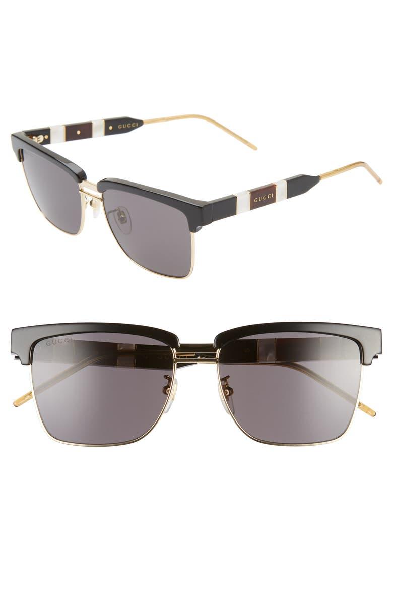 GUCCI 56mm Square Sunglasses, Main, color, SHINY BLACK