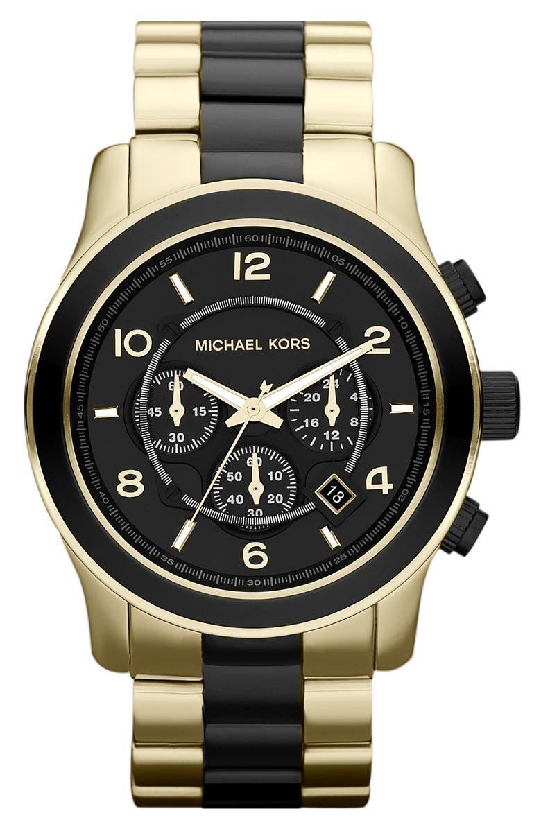 MICHAEL MICHAEL KORS Michael Kors 'Large Runway' Two Tone Chronograph Watch, 45mm, Main, color, 001