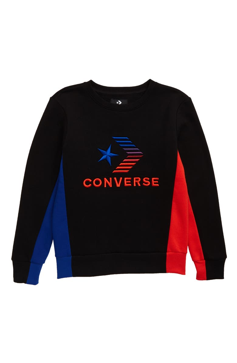 CONVERSE 3D Emblem Embroidered Crewneck Sweatshirt, Main, color, BLACK