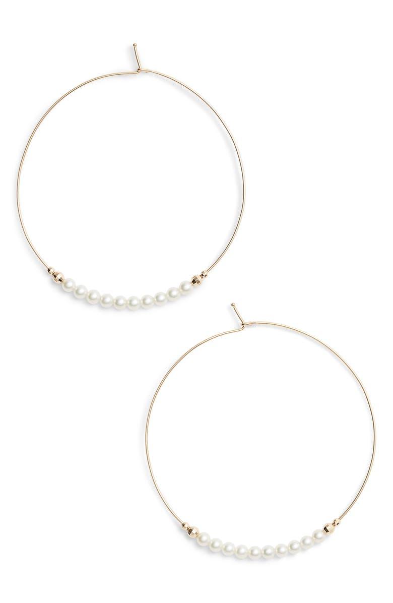 MIZUKI Pearl Hoop Earrings, Main, color, 710