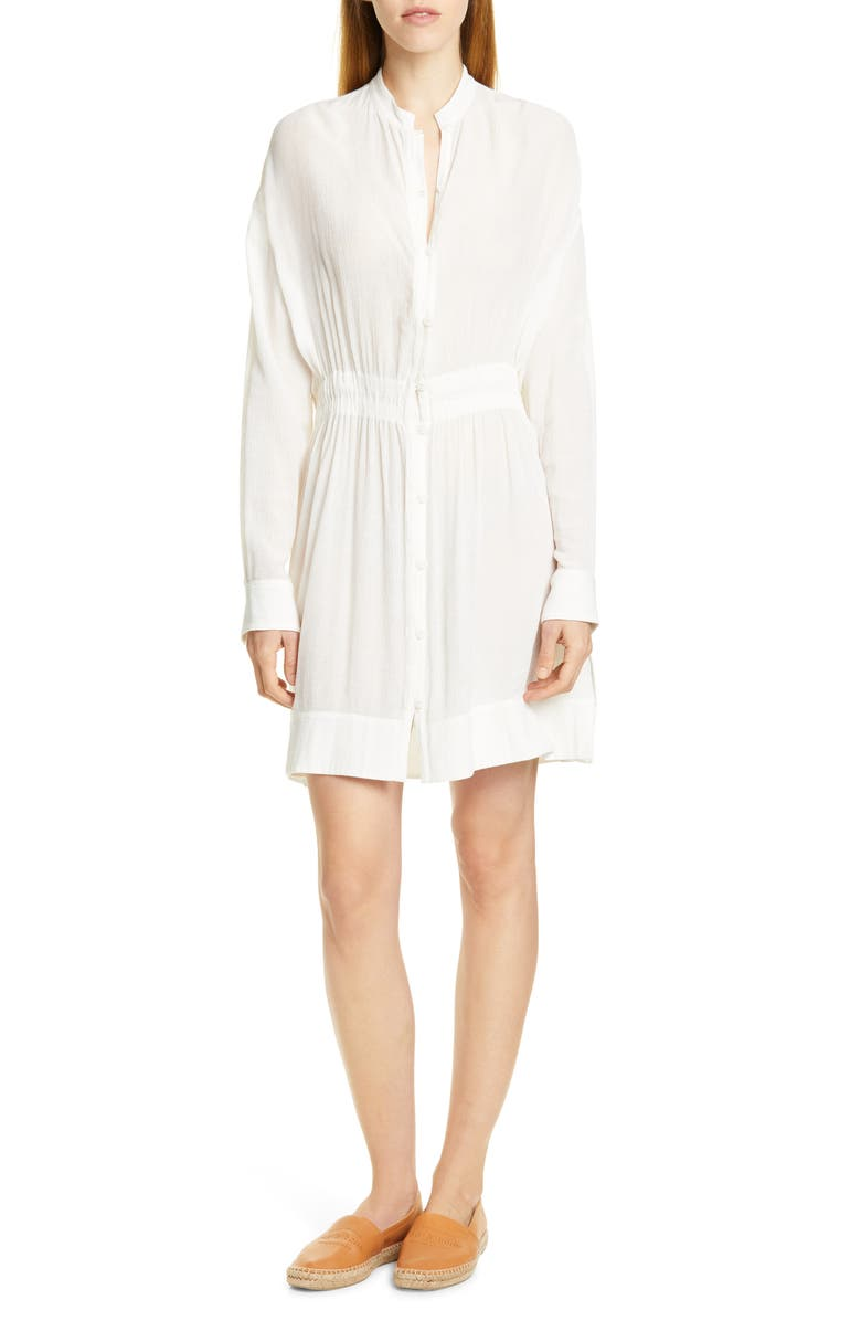 RAG & BONE Elish Long Sleeve Shirtdress, Main, color, 100