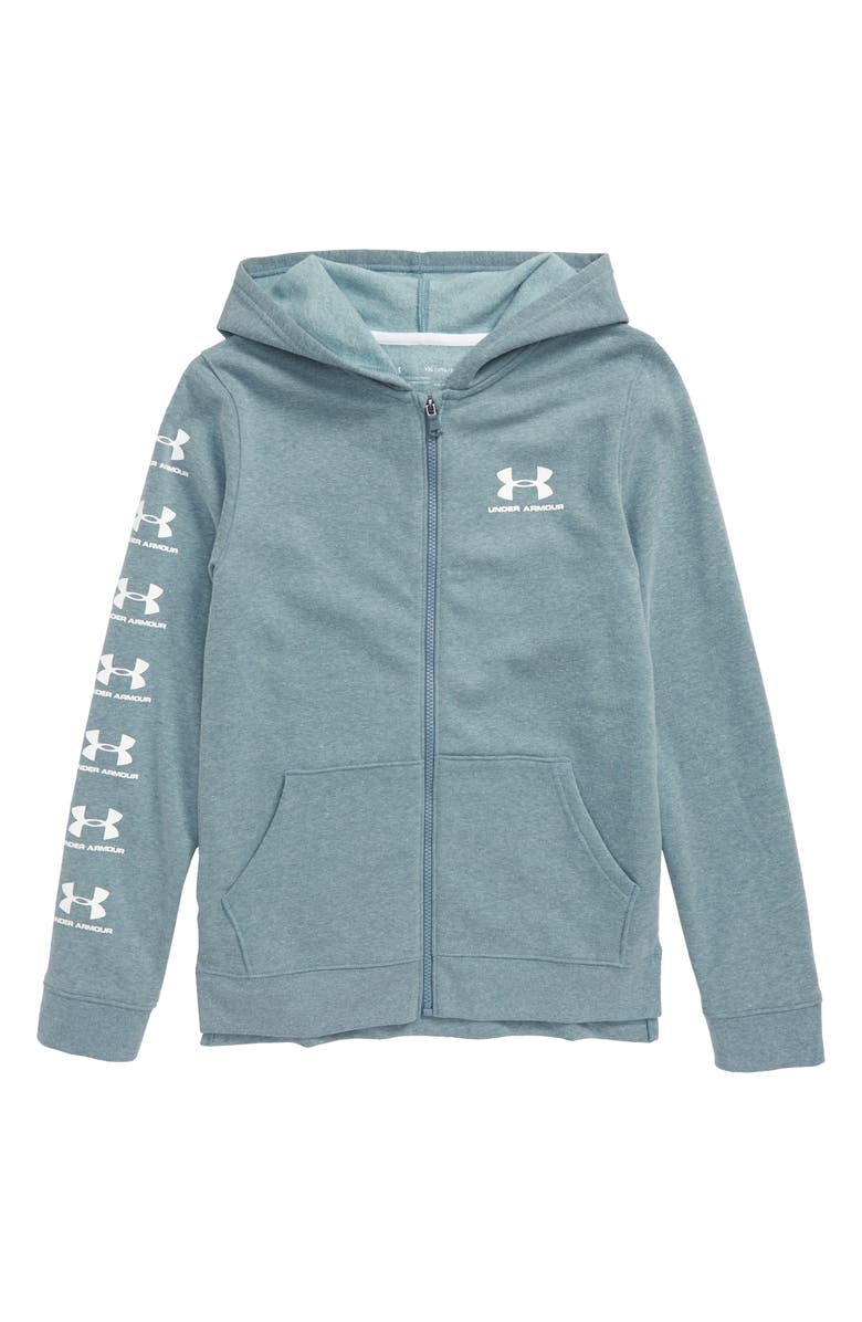 UNDER ARMOUR Rival HeatGear<sup>®</sup> Full Zip Hoodie, Main, color, ASH GRAY LIGHT HEATHER/ WHITE
