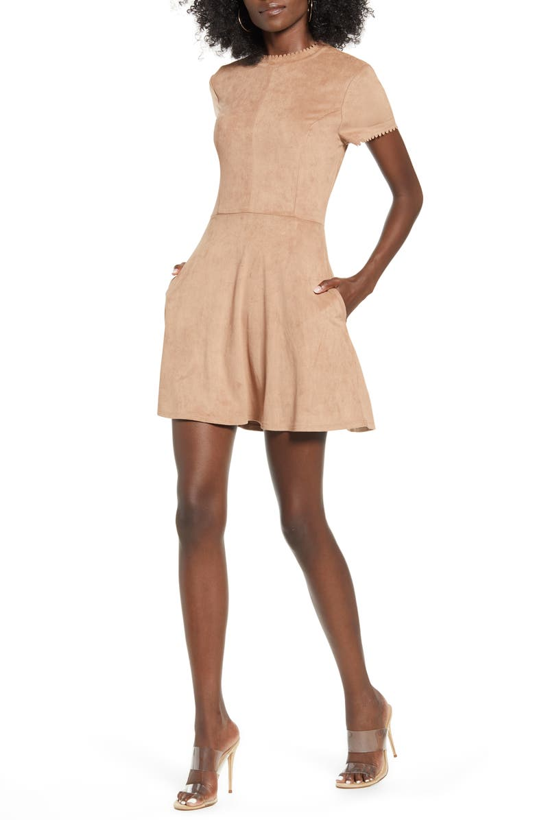 SPEECHLESS Faux Suede Fit & Flare Dress, Main, color, CAMEL