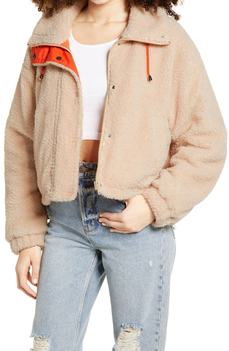 BP. Neon Faux Shearling Bomber Jacket, Main, color, BEIGE BURNT