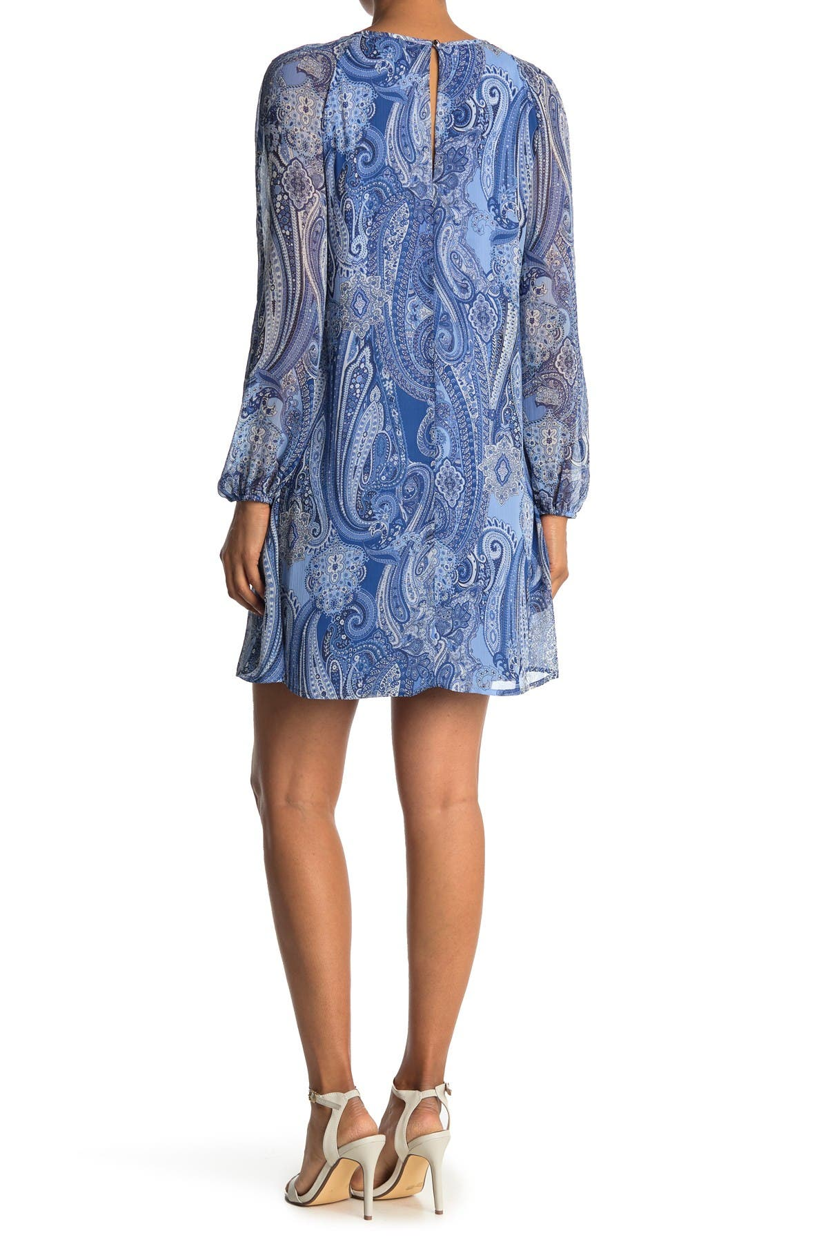 Tommy Hilfiger PAISLEY RUFFLE TRIM V-NECK DRESS