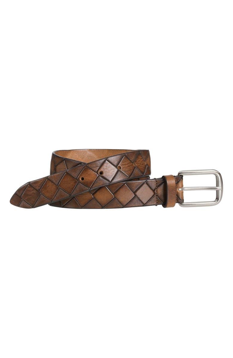 JOHNSTON & MURPHY Basket Weave Belt, Main, color, TAN