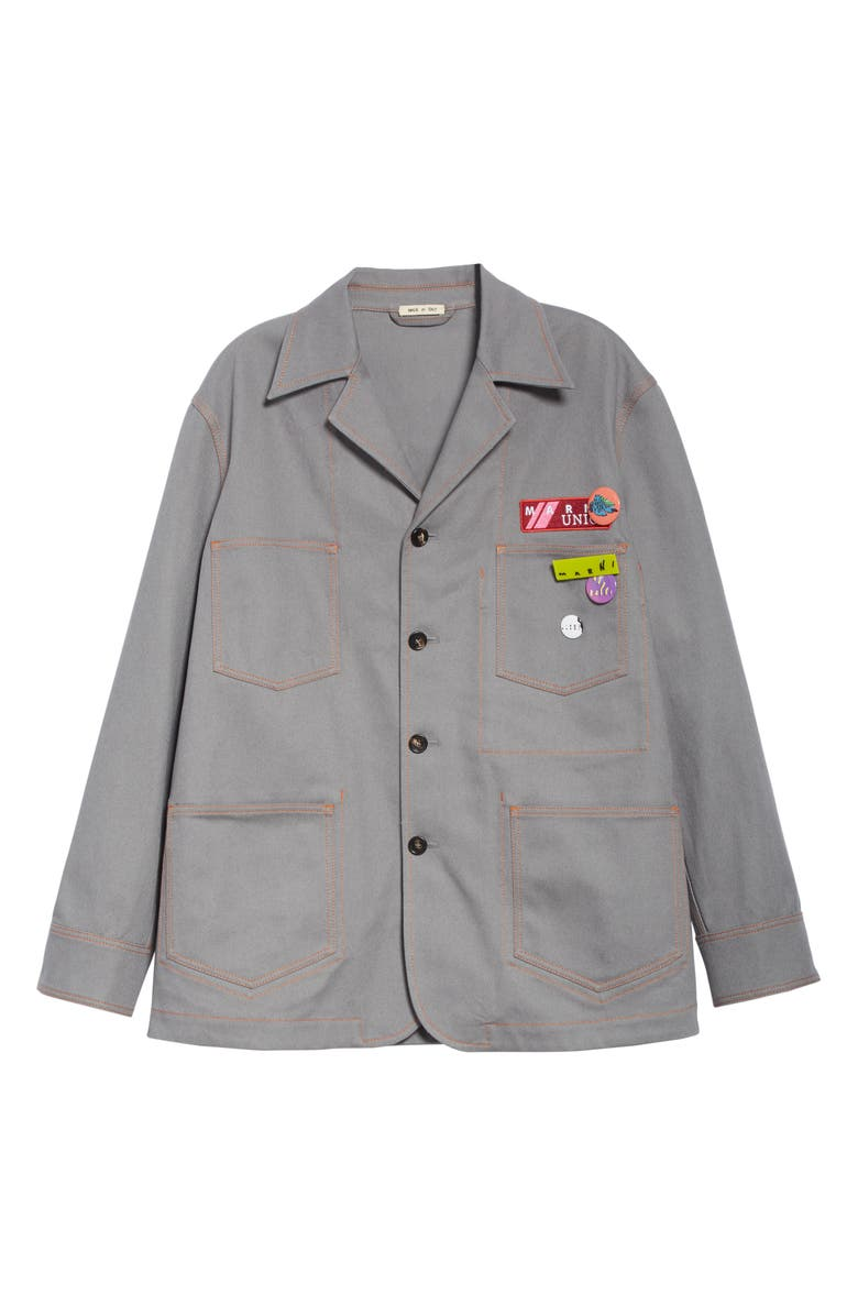 MARNI Drill Chore Jacket, Main, color, GREY