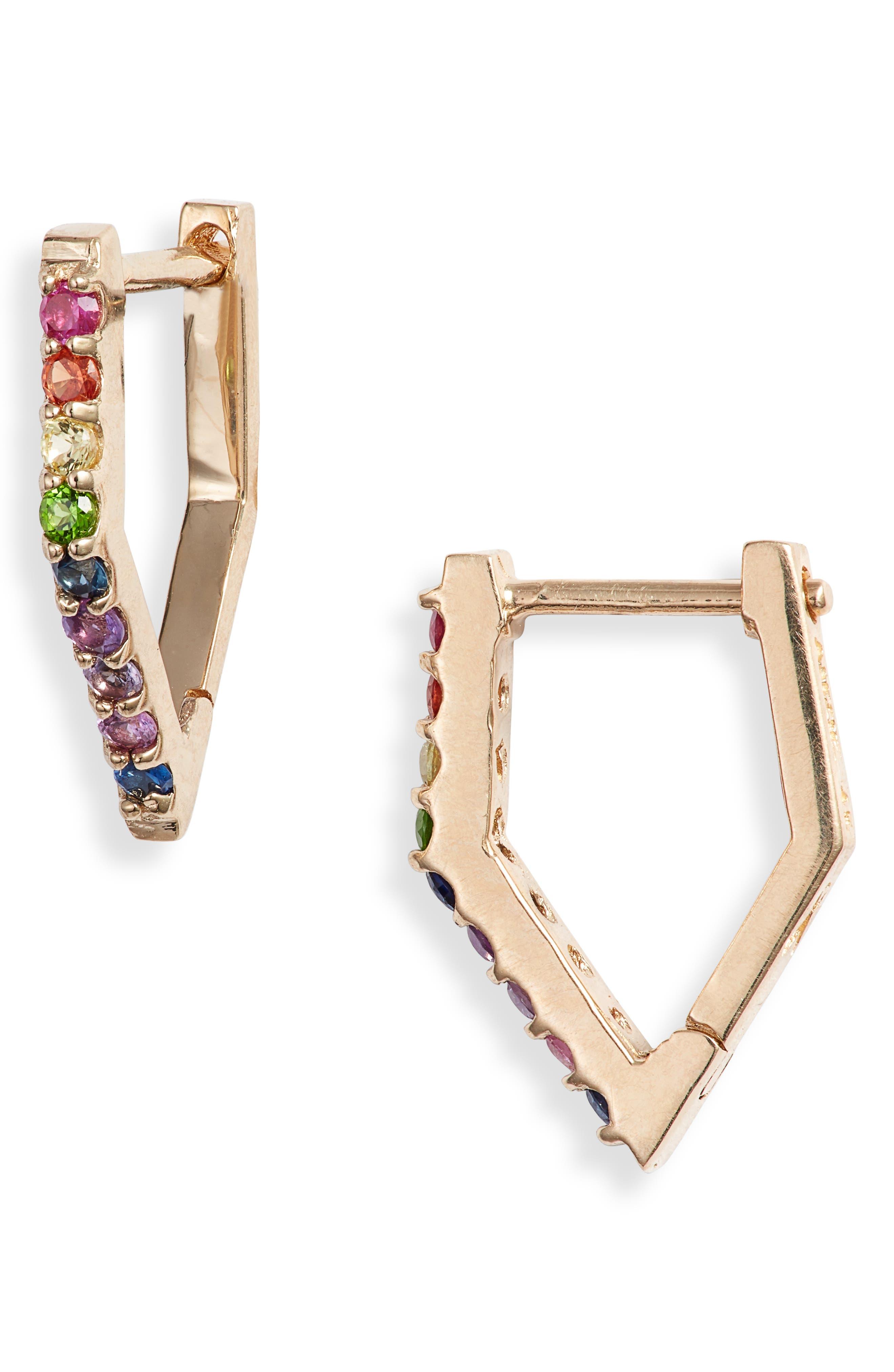 Cleo Rainbow Huggie Hoop Earrings