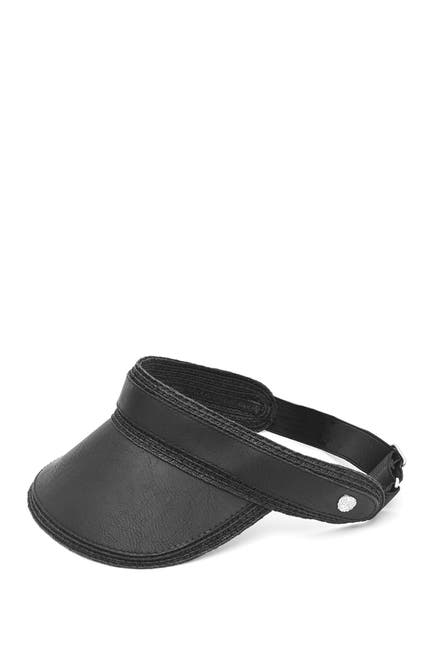 Image of Vince Camuto Faux Leather & Straw Visor