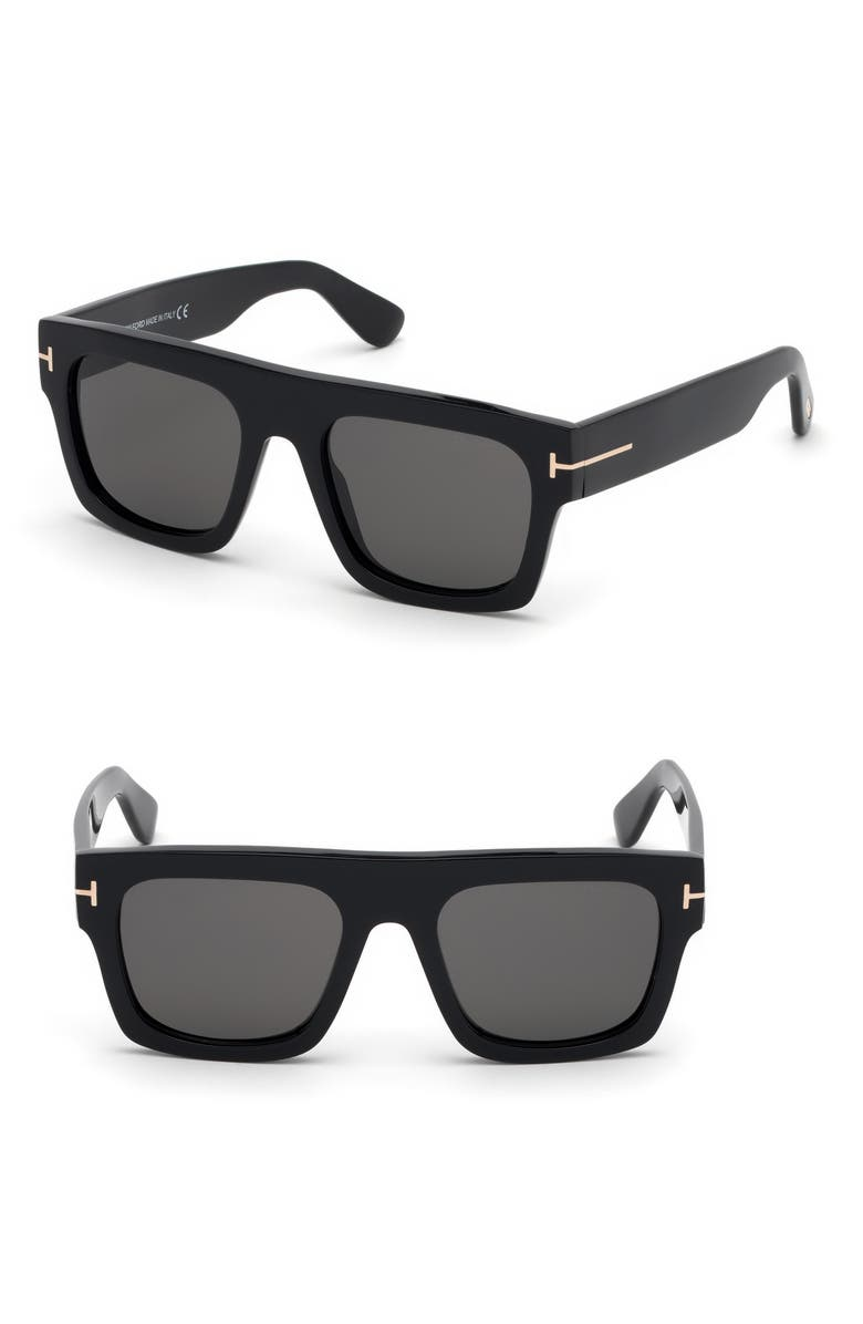 TOM FORD Fausto 53mm Flat Top Sunglasses, Main, color, SHINY BLACK/ SMOKE