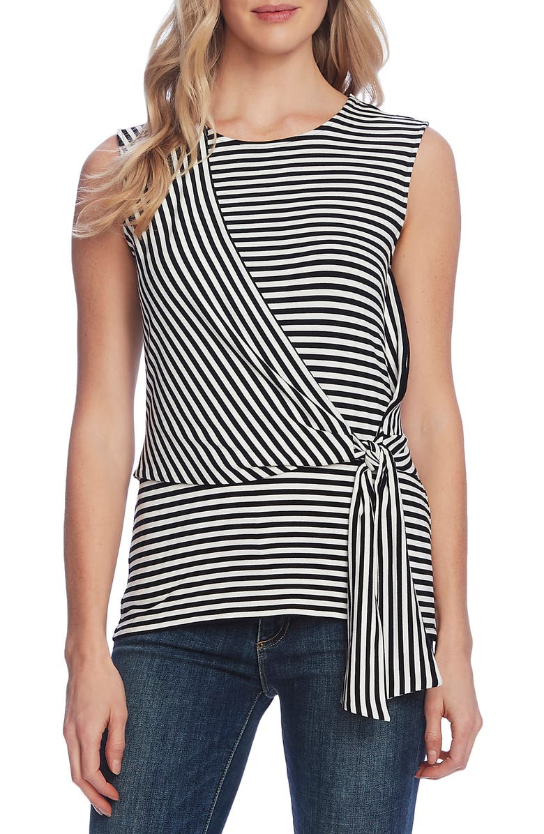 VINCE CAMUTO Vibration Stripe Tie Front Sleeveless Top, Main, color, 001