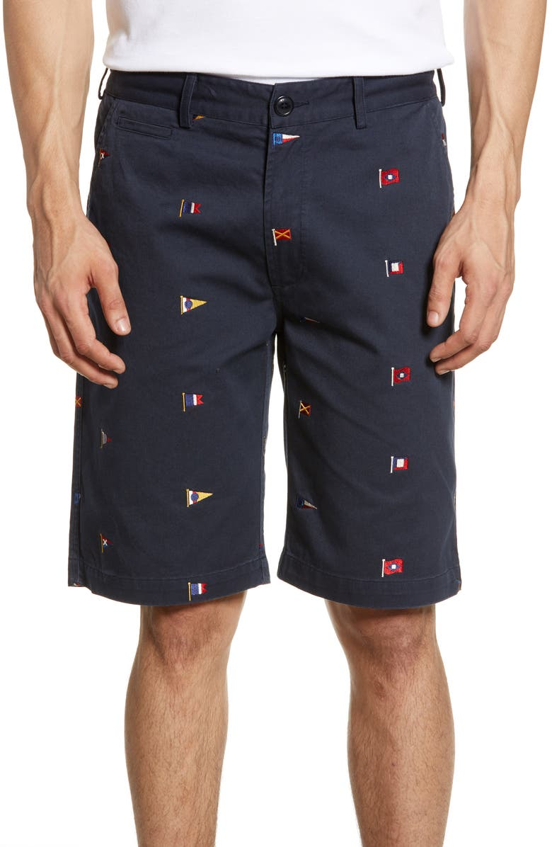 BARBOUR Flag Embroidered Twill Shorts, Main, color, 410