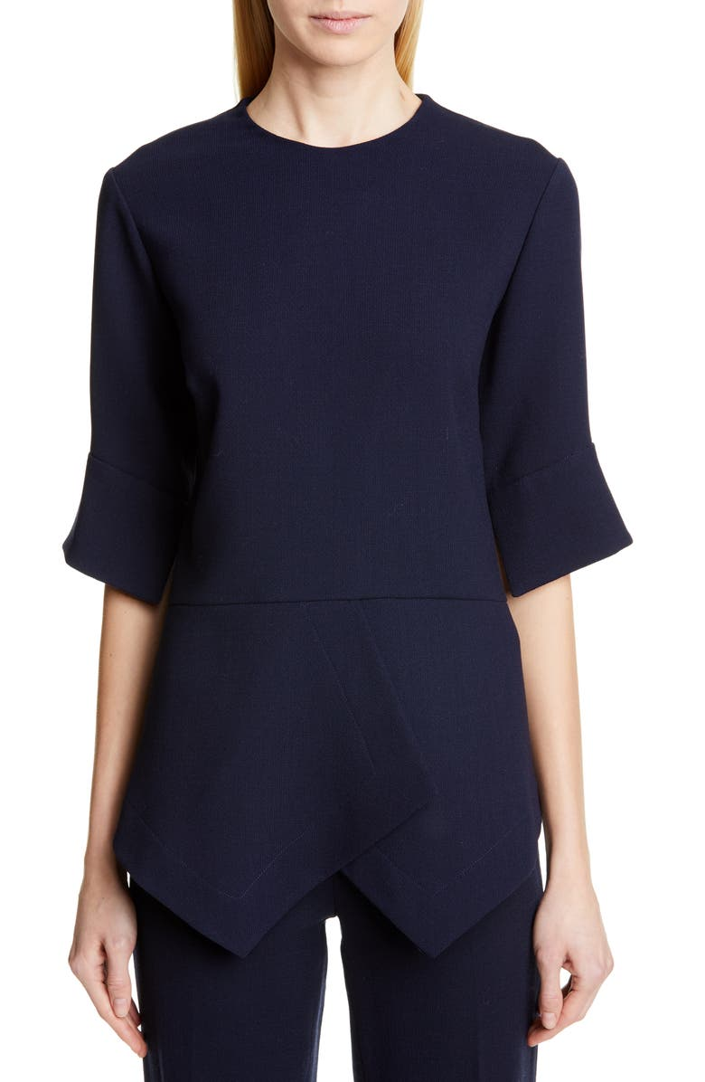 LELA ROSE Handkerchief Hem Wool Blend Top, Main, color, NAVY