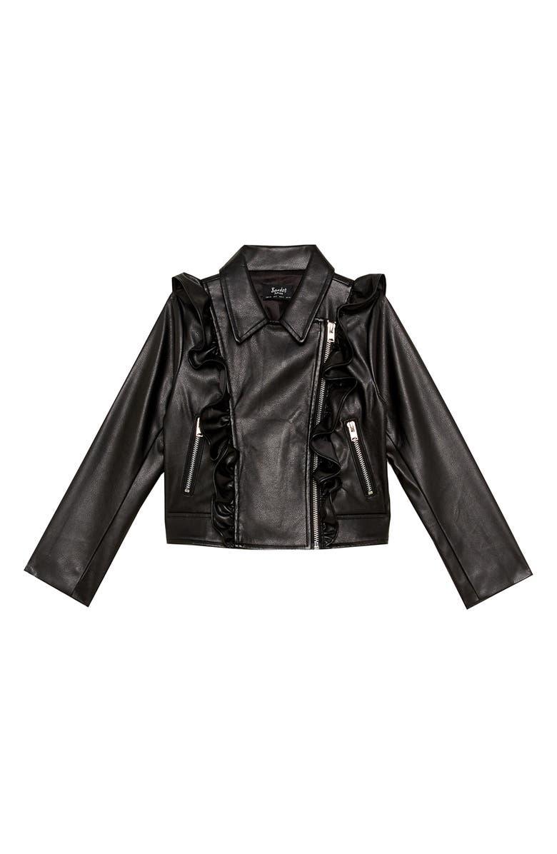 BARDOT Chloe Ruffle Faux Leather Jacket, Main, color, BLACK
