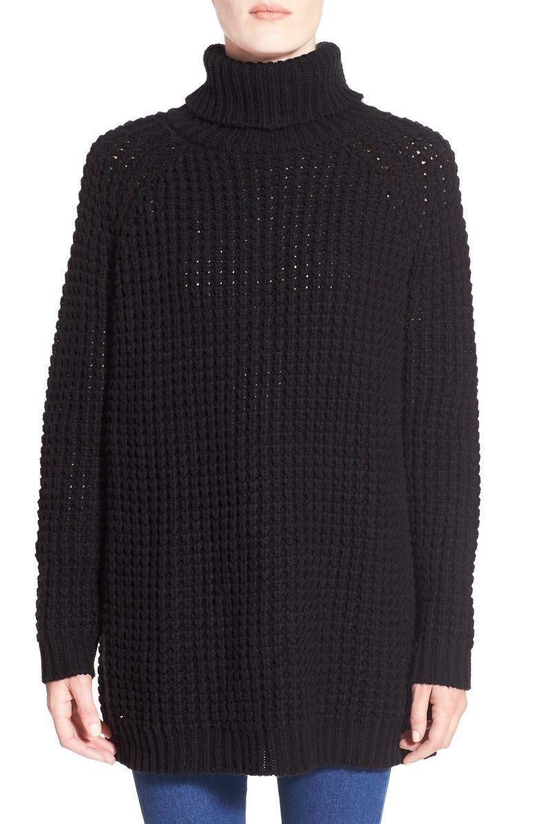 BLANKNYC Oversize Turtleneck Sweater, Main, color, 001
