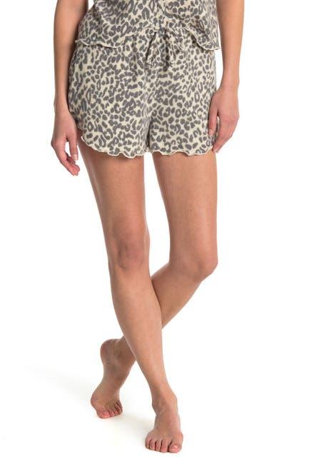 Image of Socialite Leopard Print Lettuce Hem Shorts