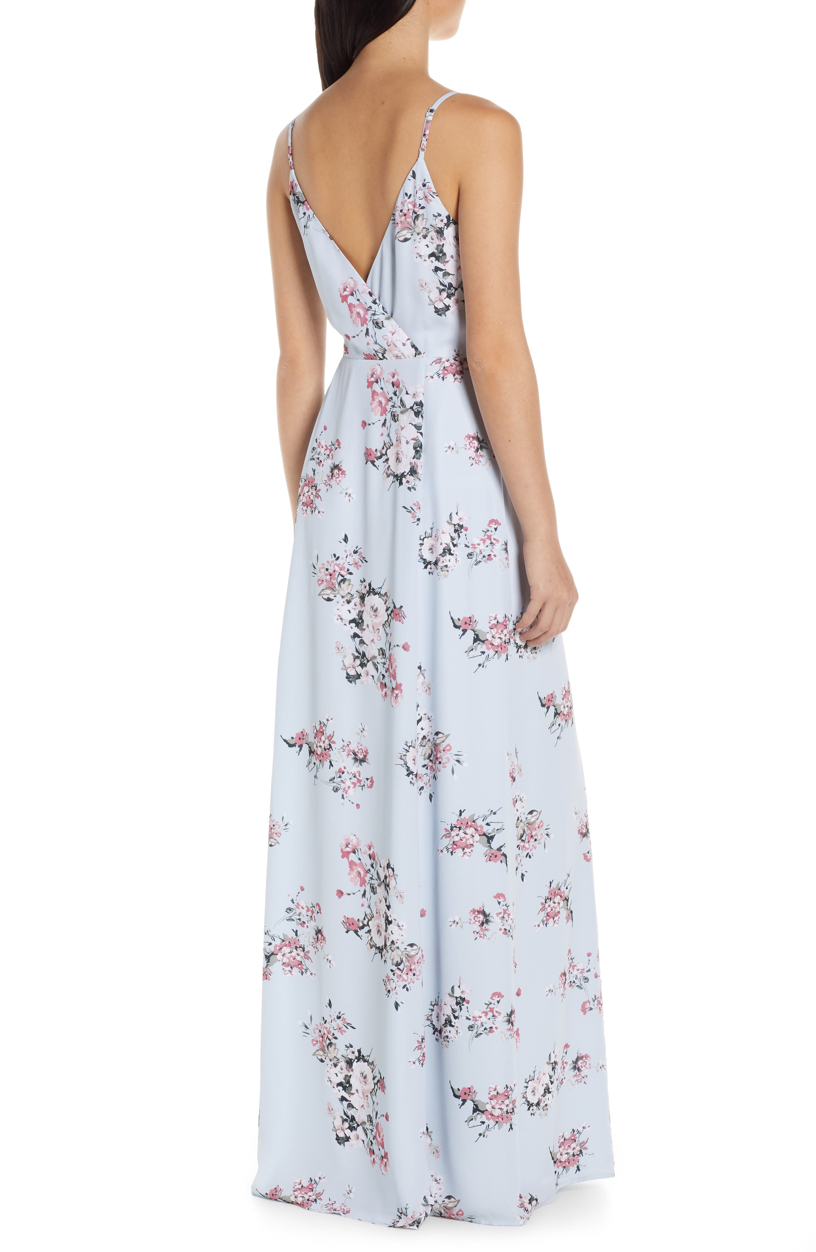 ,                             The Angelina Slit Wrap Gown,                             Alternate thumbnail 2, color,                             DUSTY BLUE FLORAL