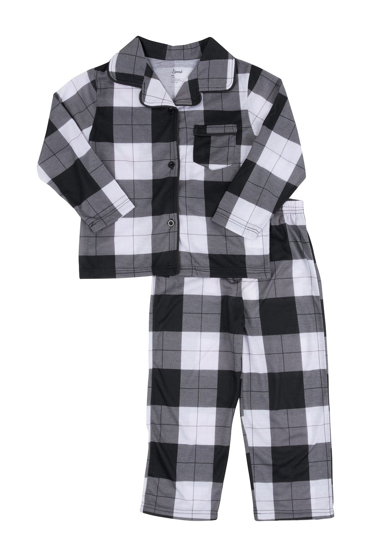 Image of Leveret Black and White Plaid 2-Piece Button Down Pajama Set