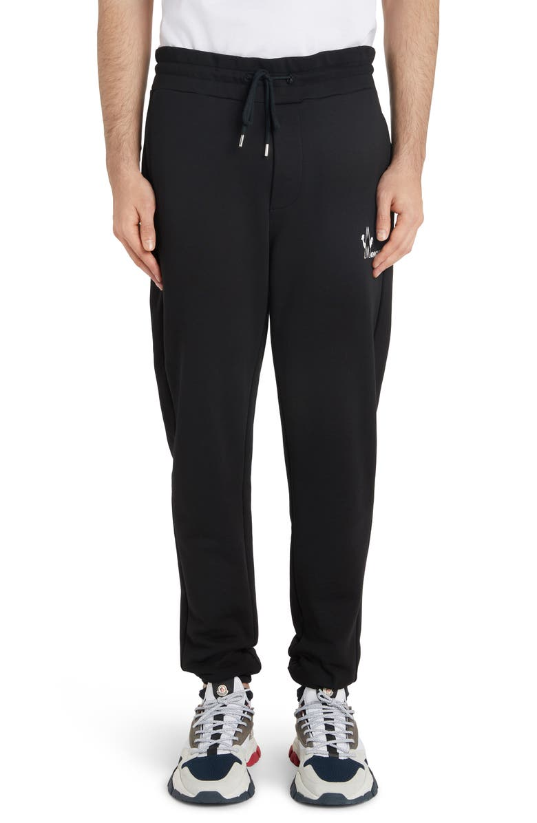 MONCLER Logo Stamp Sweatpants, Main, color, BLACK
