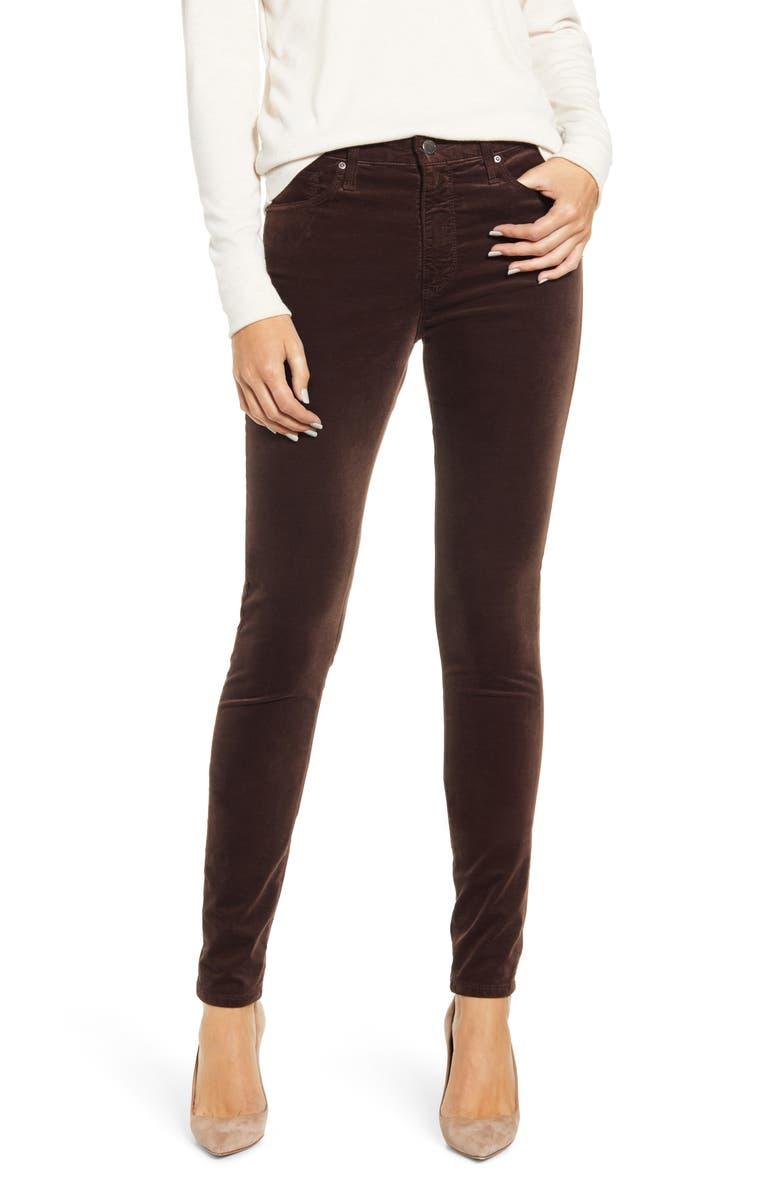 AG The Farrah High Waist Velvet Jeans, Main, color, RALEIGH BROWN