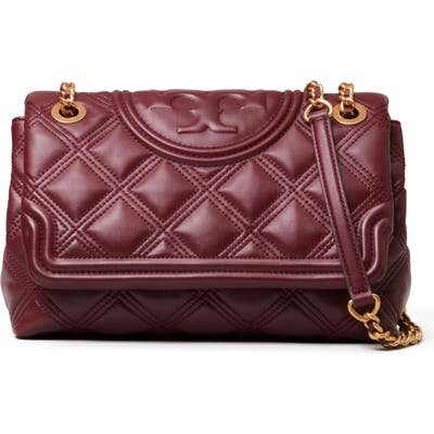 Tory Burch Fleming Soft Quilted Lambskin Leather Shoulder Bag - Red