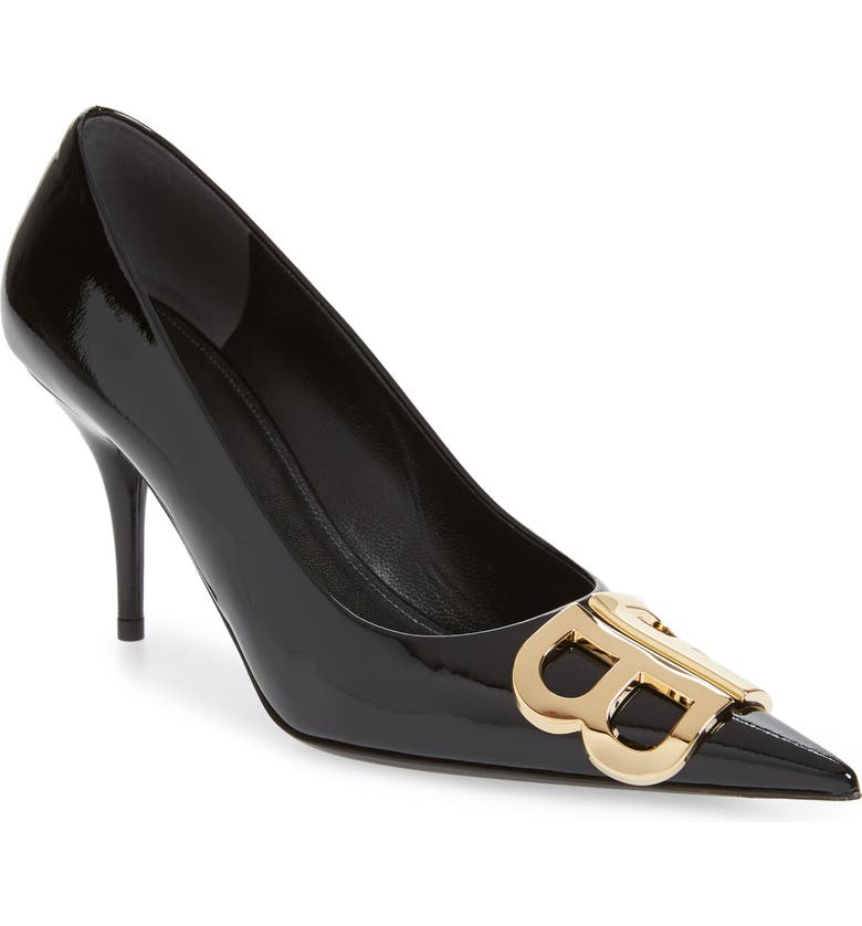 BALENCIAGA BB Pointy Toe Pump, Main, color, BLACK PATENT