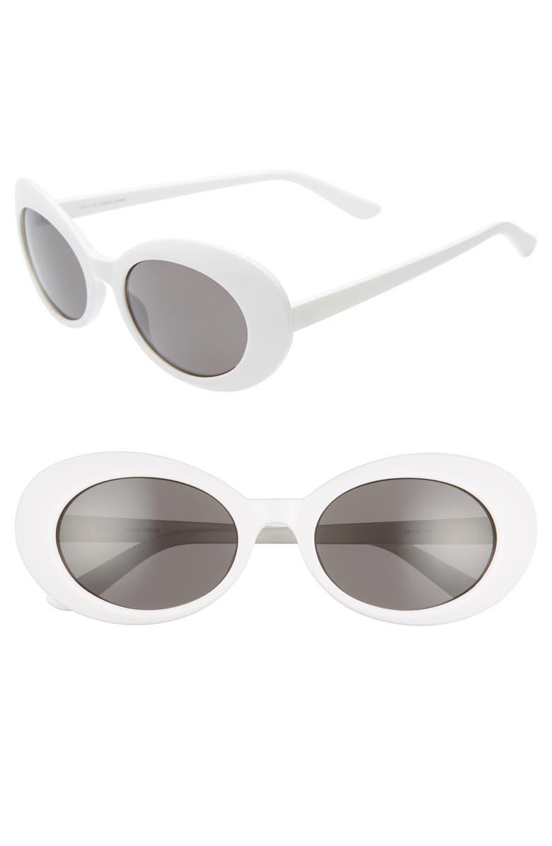 THE RAIL Richie 56mm Round Sunglasses, Main, color, WHITE