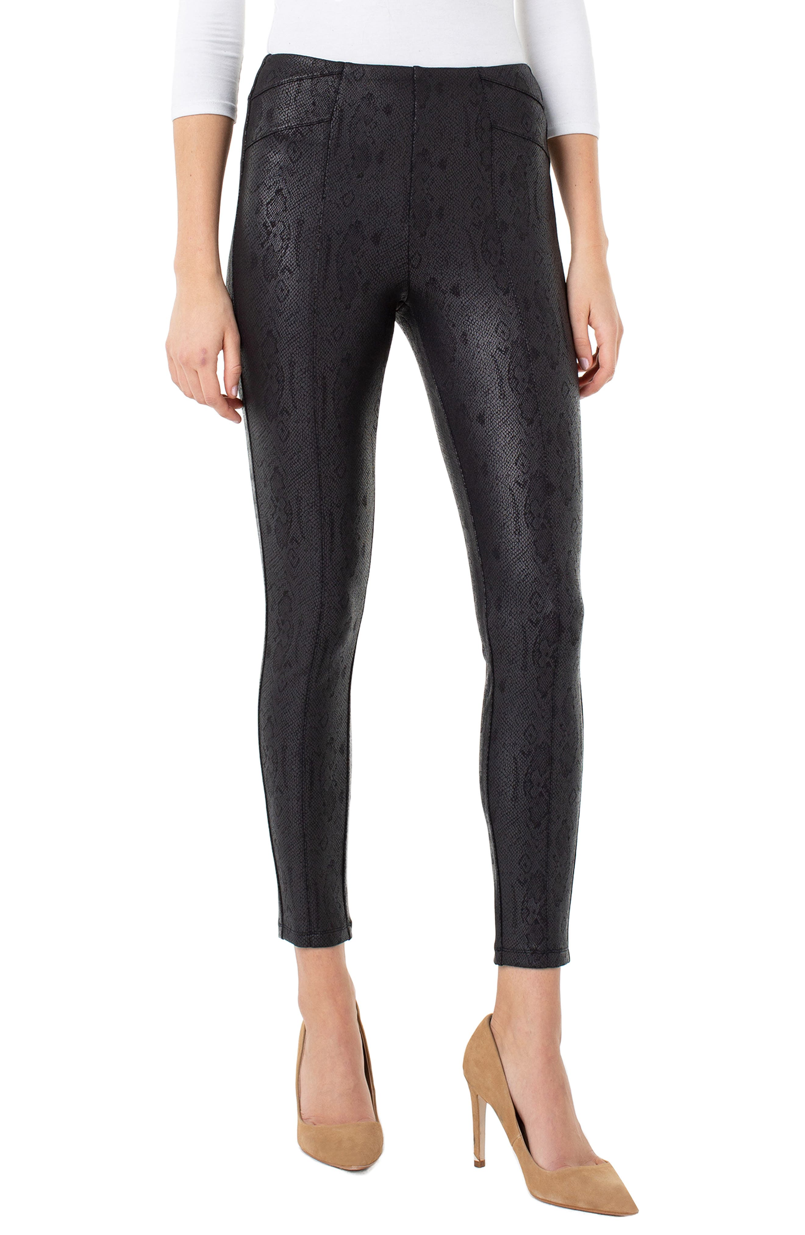 Reese High Waist Coated Snake Print Ankle Leggings by Liverpool