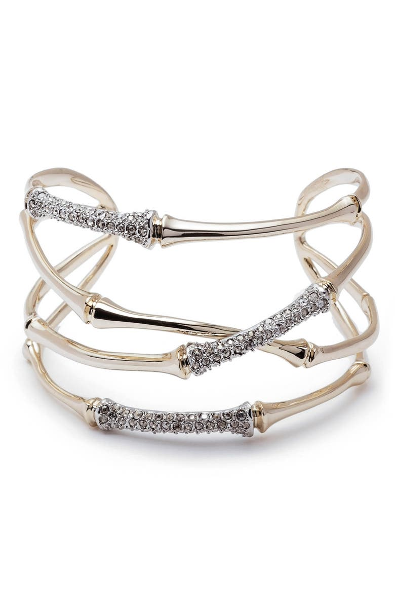 ALEXIS BITTAR Orbiting Bamboo Crystal Encrusted Cuff Bracelet, Main, color, TWO TONE