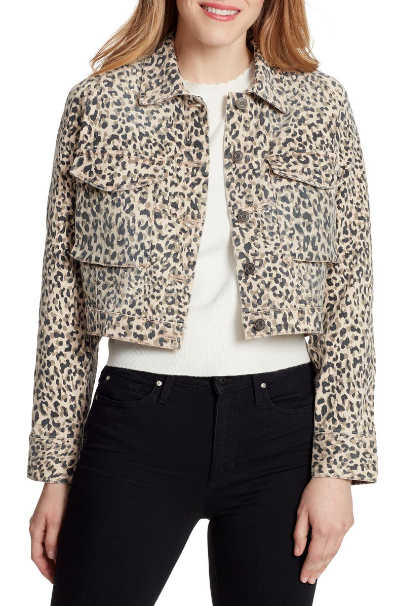 ELLA MOSS Cheetah Print Crop Denim Jacket, Main, color, 250