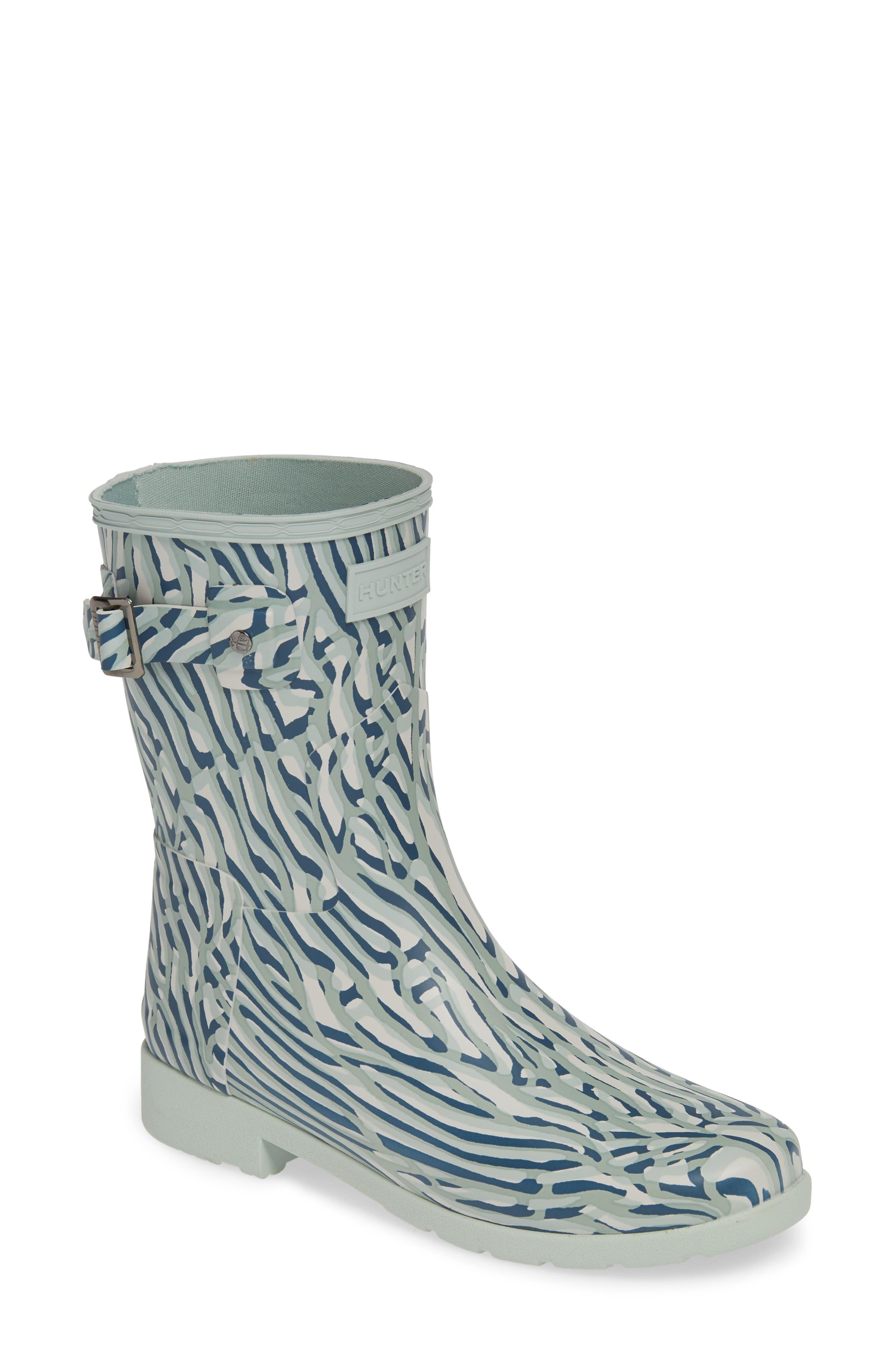 Hunter Original Coral Print Refined Short Waterproof Rain Boot, Blue