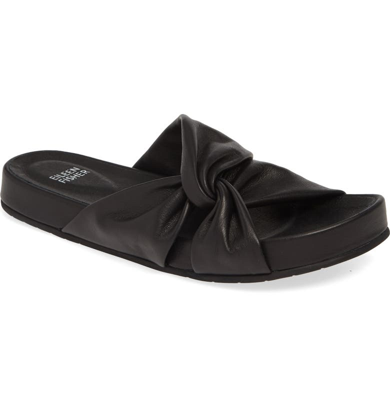 EILEEN FISHER Pall Twisted Slide Sandal, Main, color, BLACK WASHED LEATHER