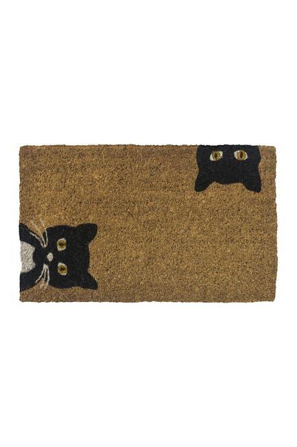 Image of ENTRYWAYS Peeping Cats Handwoven Coconut Fiber Doormat